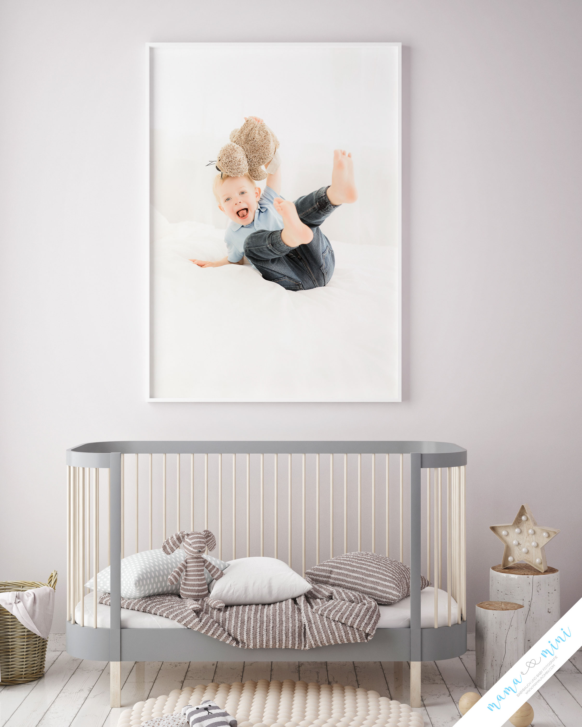 mock up poster frame in children bedroom, scandinavian style int