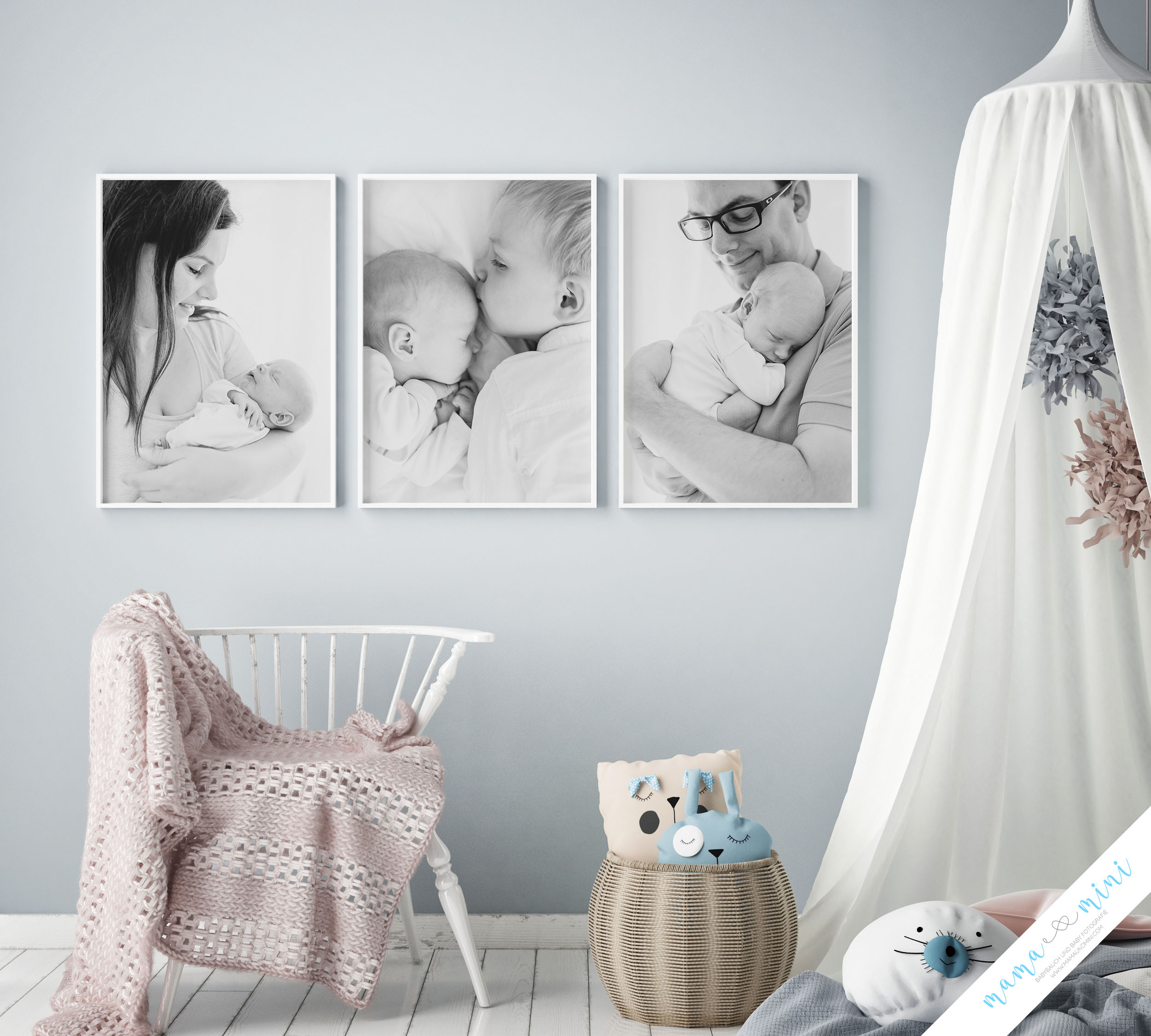 mock up poster frames in children bedroom, Scandinavian style in